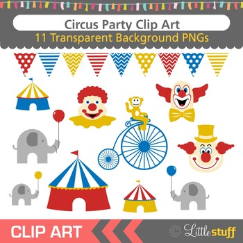 Circus Clip Art, Clown Clipart, Circus Tent, Animals.