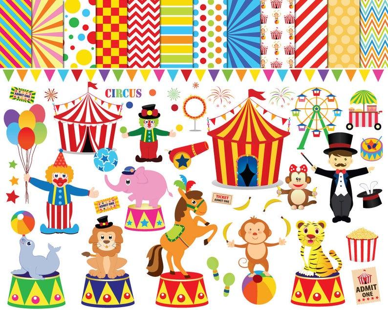 56 Circus clipart , circus clip art ,clowns clipart , circus printable ,  circus images , lion elephants monkey tiger Ferris wheel clipart.