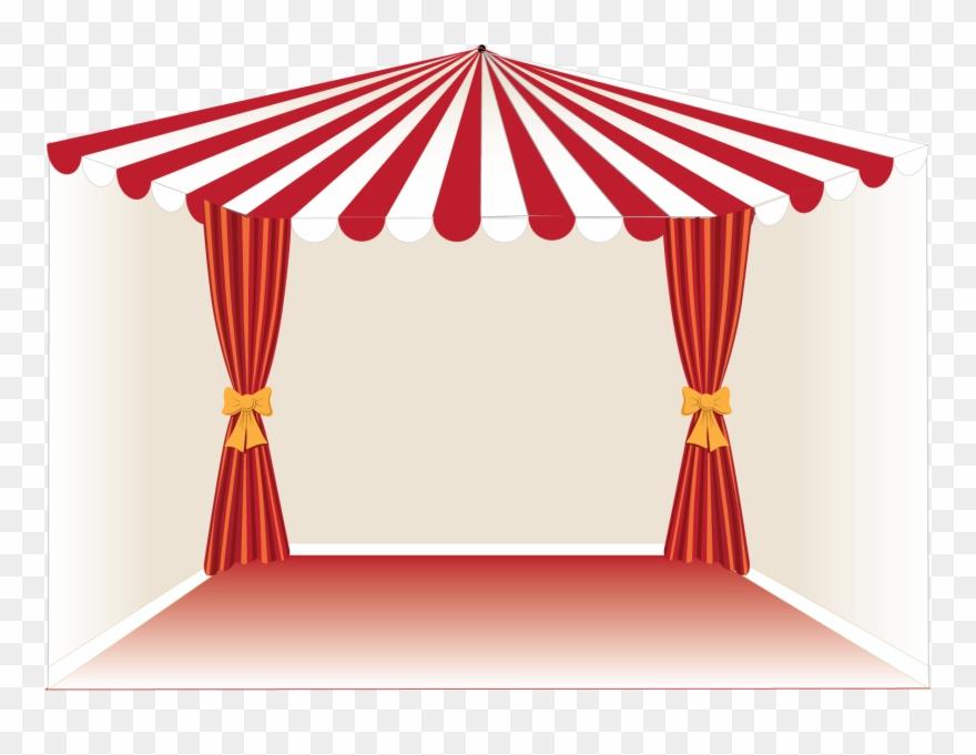 Drawn Curtain Circus Tent Clipart.