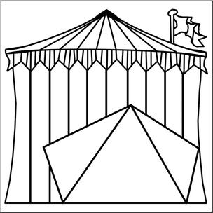 Clip Art: Circus Tent B&W I abcteach.com.