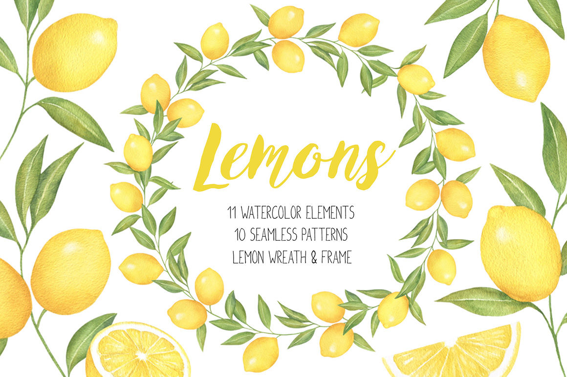 Lemon and Citrus Watercolor Clipart, Lemon wreath, seamless pattern.