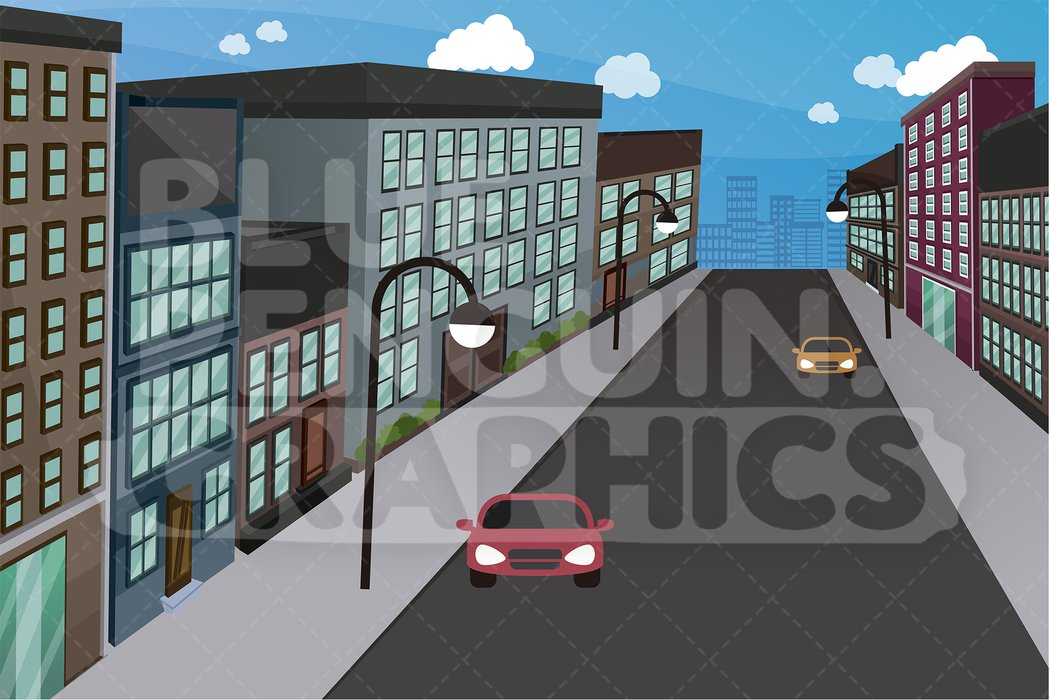 City Street With Cars Graphic Background Clipart.