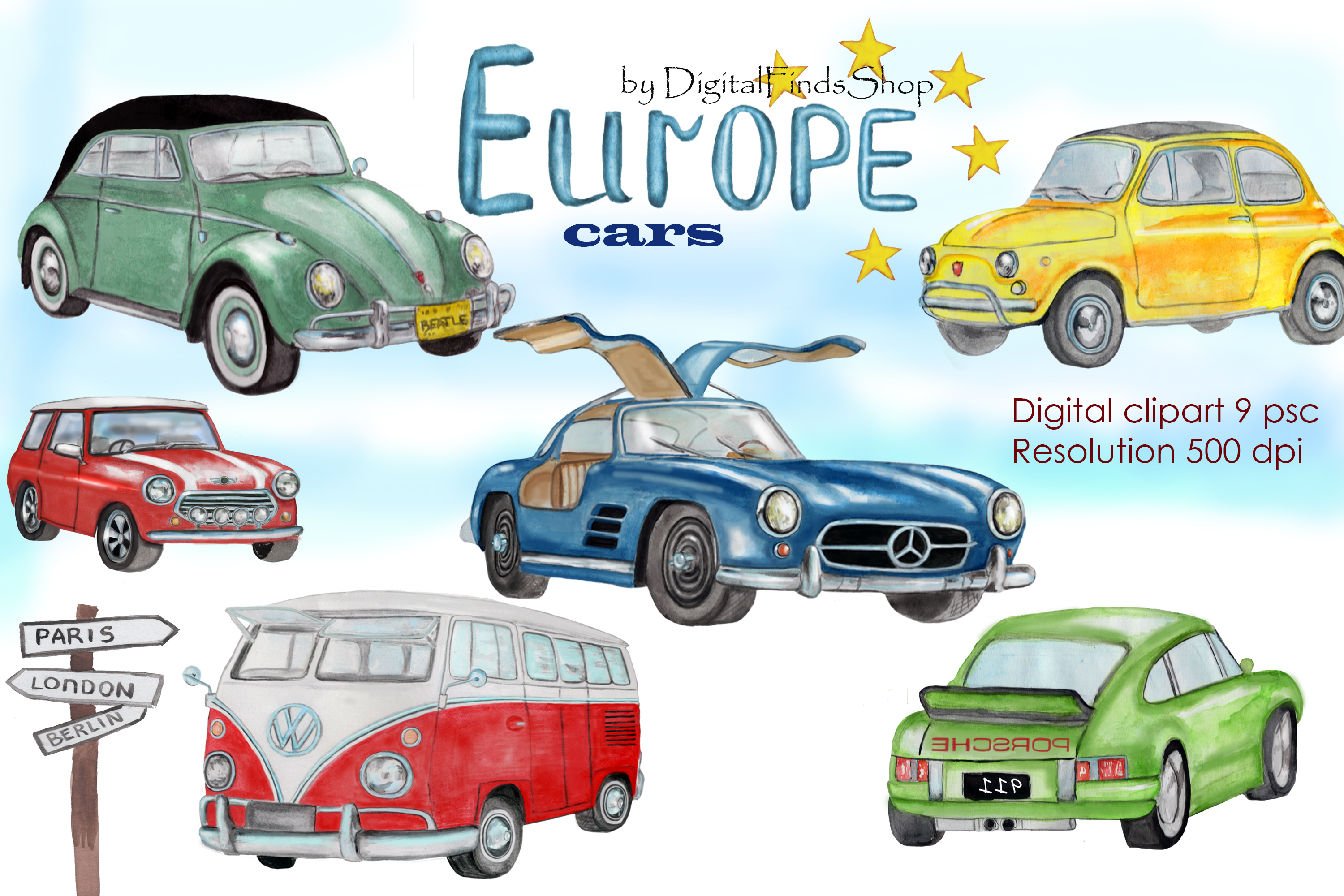 Europe cars clipart, vintage cars clip art, classic cars,.