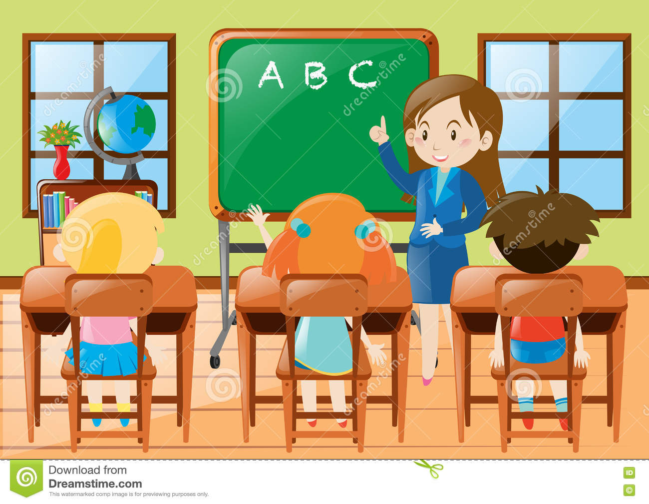 Teacher Teaching Kindergarten Students In Class Stock Vector.