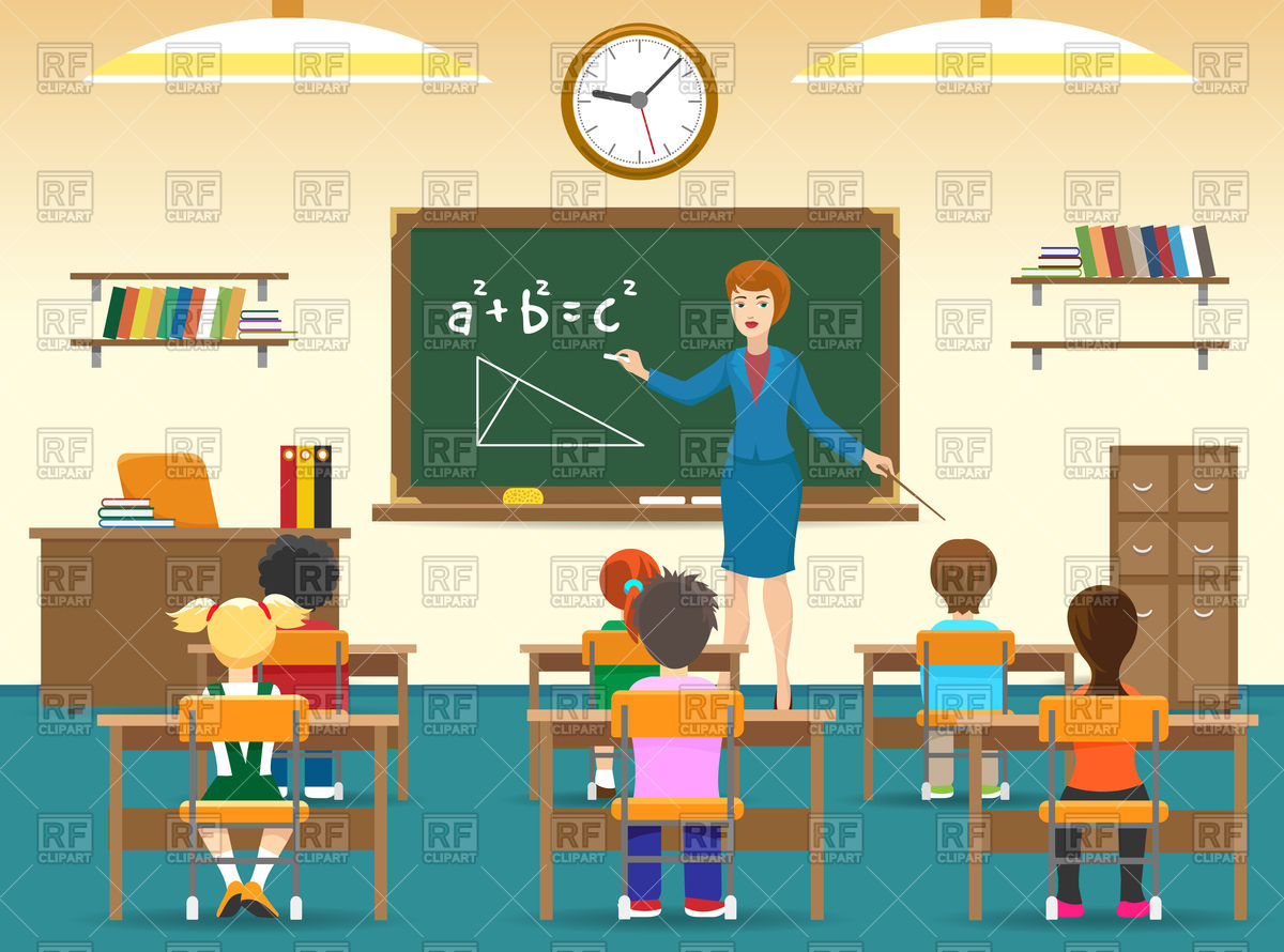Classroom with board, female teacher Stock Vector Image.