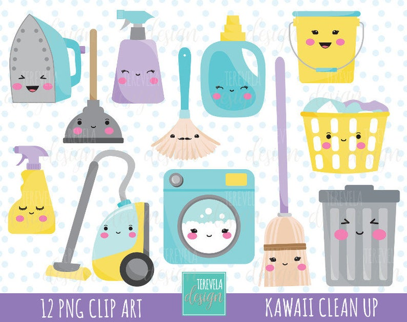 50% SALE CLEANING clipart, commercial use, kawaii cleaning clipart, Laundry  clipart, clean up graphics, cute, kawaii clipart.