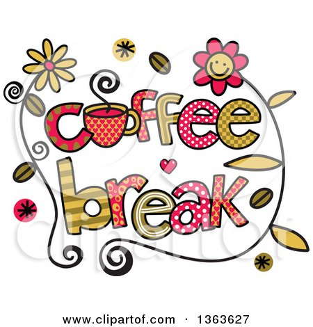 Clipart of Colorful Sketched Coffee Break Word Art.