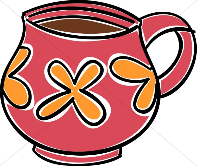 Red and Orange Coffee Mug Clipart.