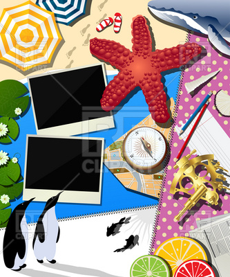 Summer vacation and travel collage Vector Image.
