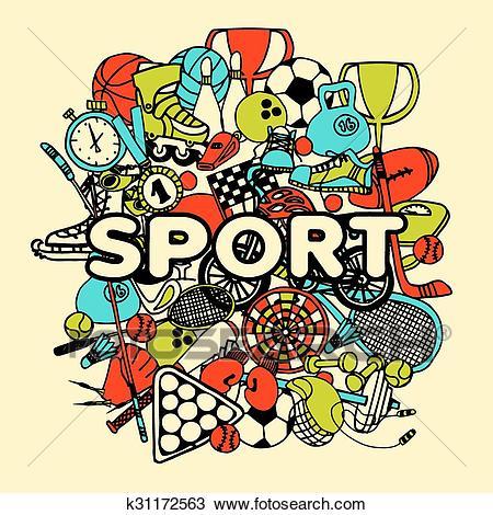 Sport Doodle Collage Clipart.