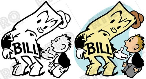 A giant bill attempts to collect on a debt vintage retro clipart.