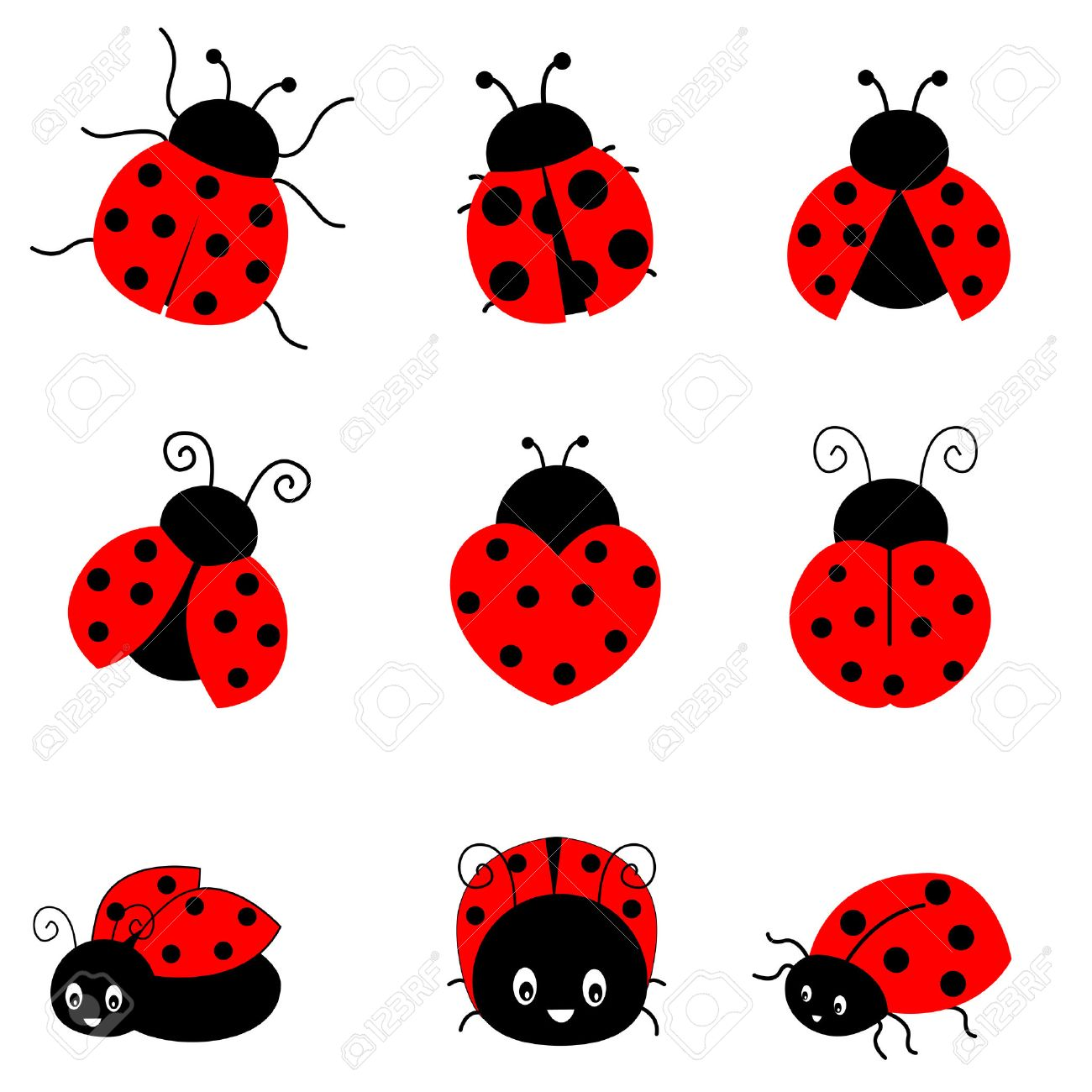 Cute colorful ladybugs clipart collection isolated on white background.