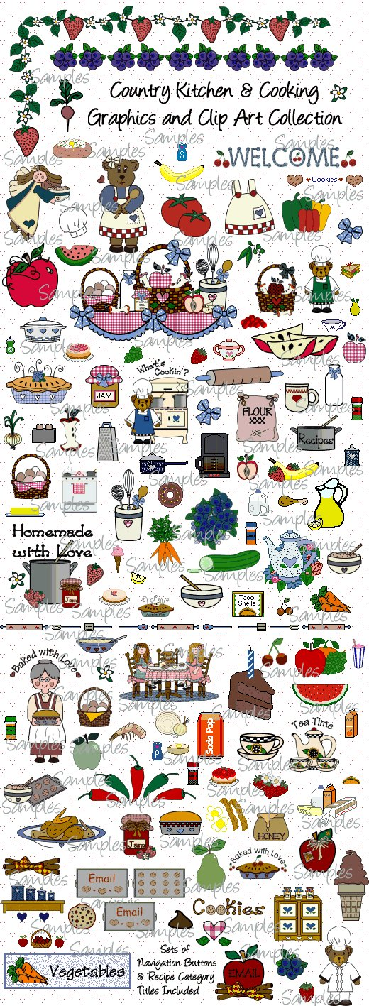 Country Kitchen & Cooking Graphics and Clipart Collection.