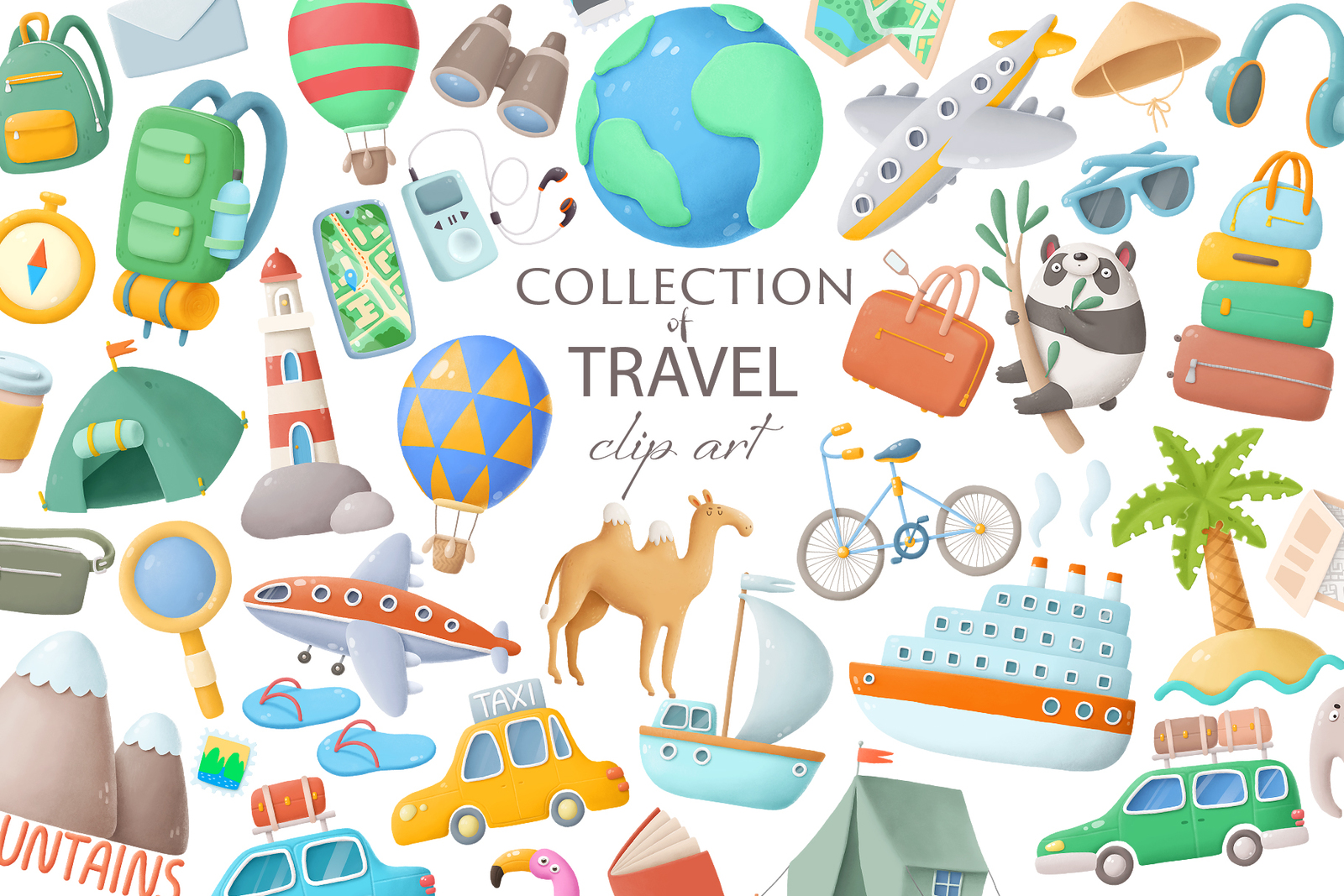 Travel clip art collection in Illustrations on Yellow Images Creative Store.
