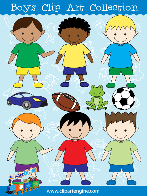 Boys Clip Art Collection for Personal and Commercial Use.