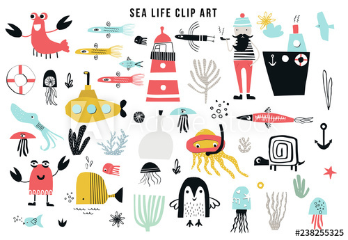 Big kids sea life clipart collection. A large set of items on the.