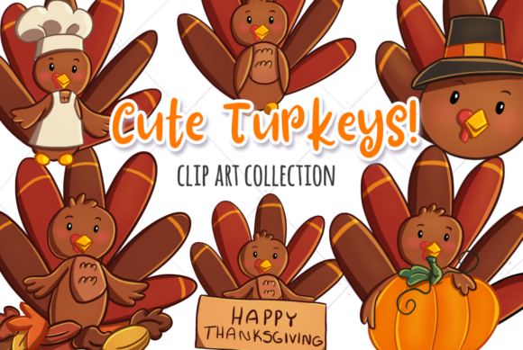 Cute Turkeys Clip Art Collection.