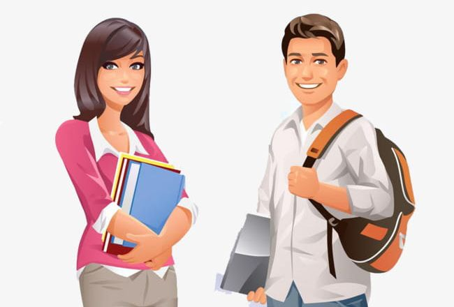 Male And Female Cartoon College Students PNG, Clipart, Cartoon.