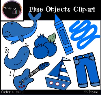 Blue Color Objects Clipart.