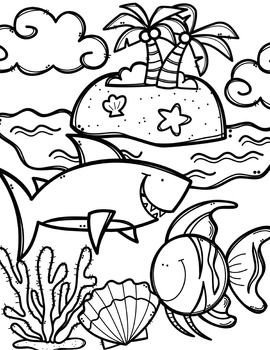 FREE Ocean Animals Coloring Book {Made by Creative Clips Clipart.