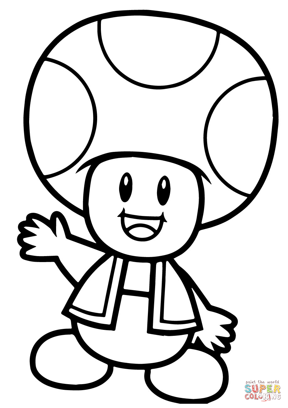 Super Mario Bros. Toad coloring page.