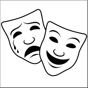 Clip Art: Comedy and Tragedy Masks 1 (coloring page) I abcteach.com.