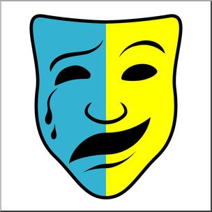 Clip Art: Comedy and Tragedy Masks 2 Color I abcteach.com.