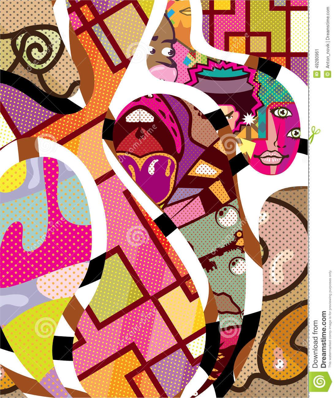 CutOut Abstract Vector Art Compilation Stock Vector.