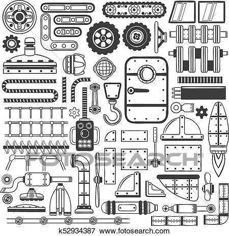 Compilation of machinery parts Clip Art.