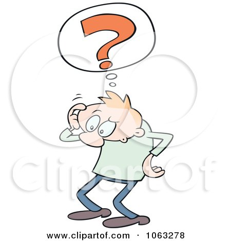 Clipart Confused Toon Guy Scratching His Head.