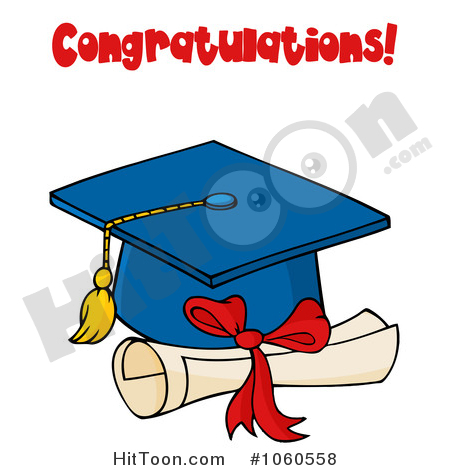 Graduation Clipart #1060558: Blue Graduation Cap and Tassel with.