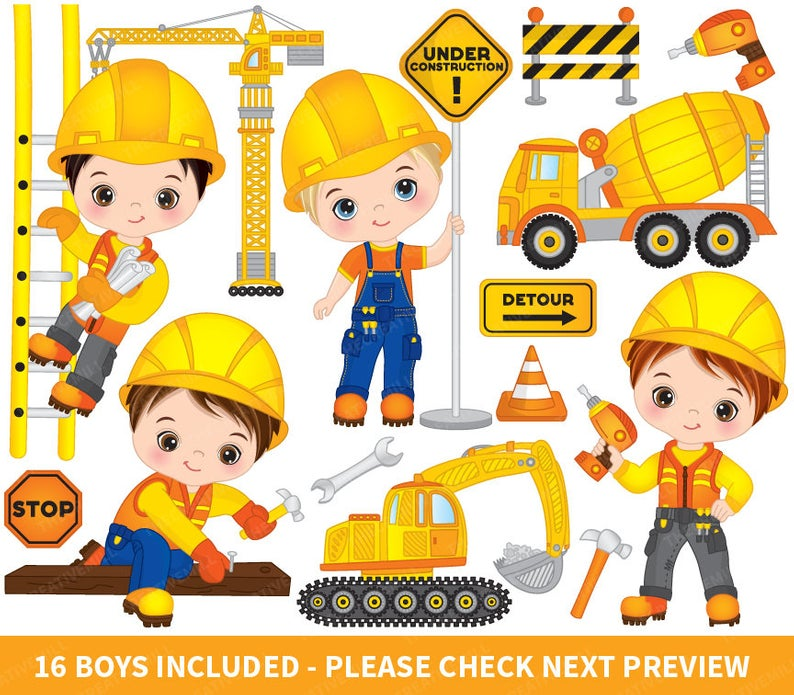 Construction Boys Clipart.