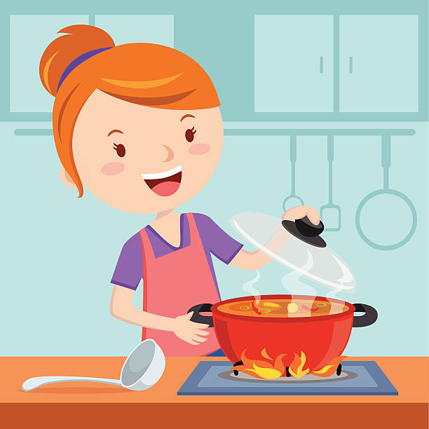 Best Woman Cooking Illustrations, Royalty.