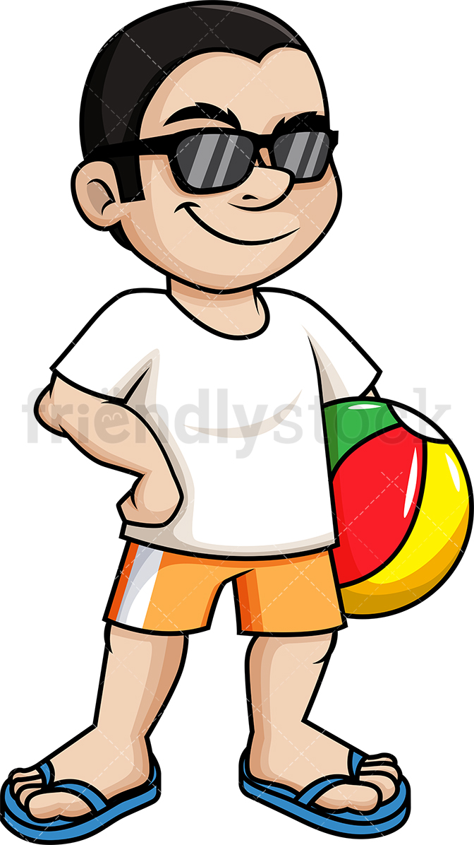 Cool Man Holding Beach Ball.