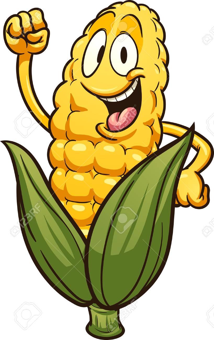 Happy cartoon corn. Vector clip art illustration with simple...