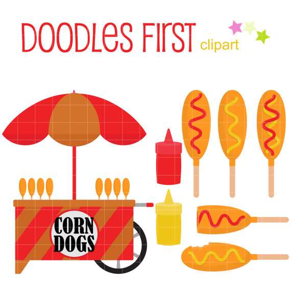 Corn Dog Cart Clip Art for Scrapbooking Card Making Cupcake Toppers.