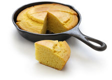 Homemade Cornbread In Skillet, Southern Cooking Stock Photo.