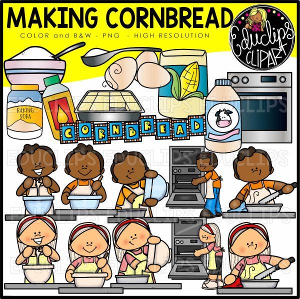 Making Cornbread Clip Art Set.