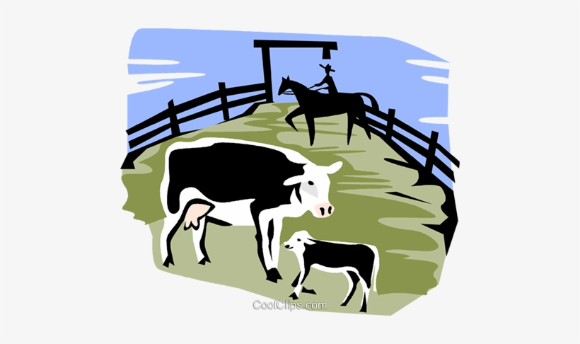 Cows In A Corral Royalty Free Vector Clip Art Illustration.