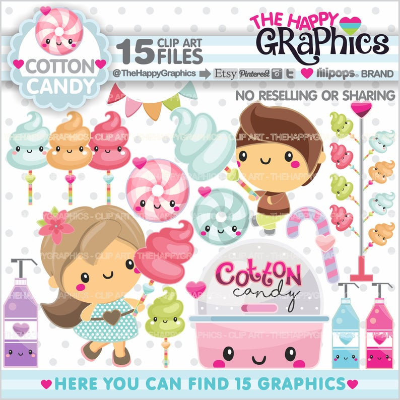 Cotton Candy Clipart, Cotton Candy Graphic, COMMERCIAL USE, Cotton Candy  Party, Food Clipart, Kawaii Clipart, Carnival Clipart, Cute.