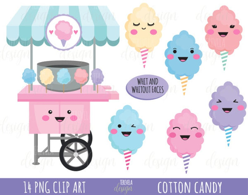 50% SALE cotton candy clipart, cotton candy printable, commercial use,  candy clipart, instant download,kawaii clipart.