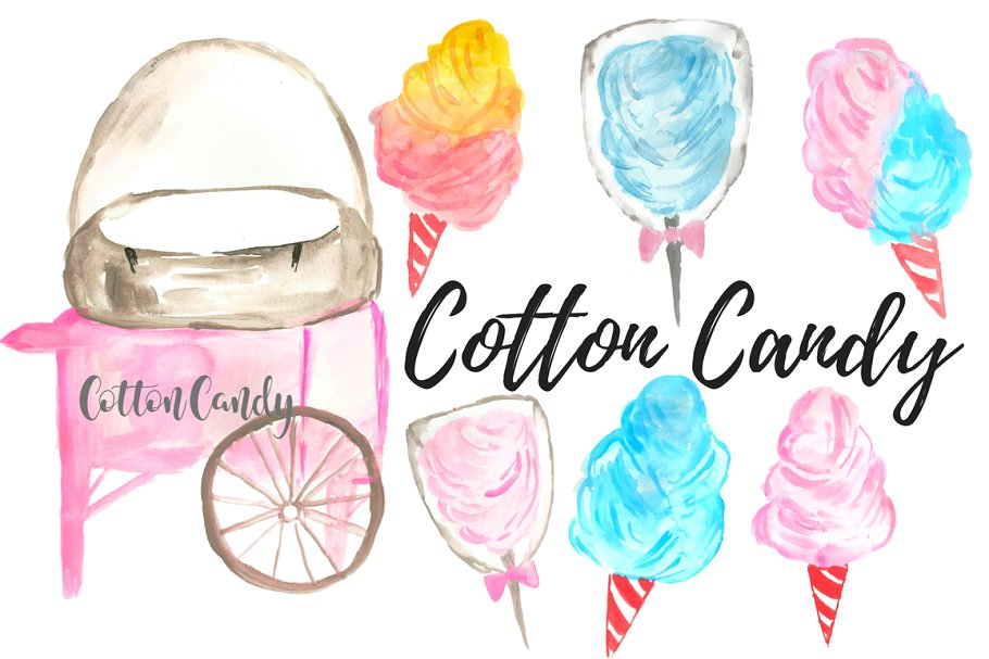 Cotton Candy Carnival Clip Art.