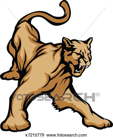Cougar Mascot Body Clip Art.
