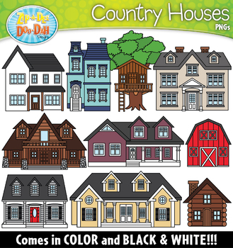 Country Houses Clipart Set {Zip.