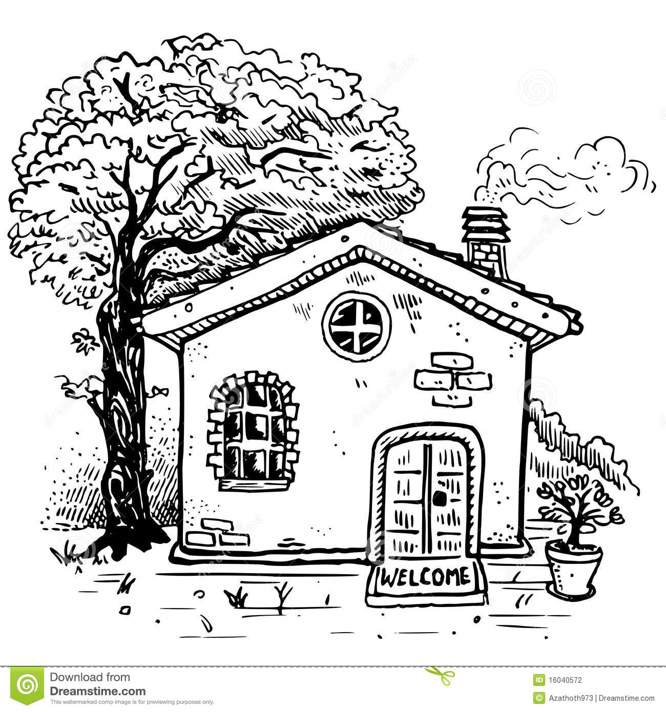 Vector country house stock vector. Illustration of plant.