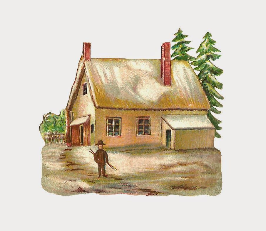 Free Digital House Graphic: Digital House Clip Art of Country Farm.