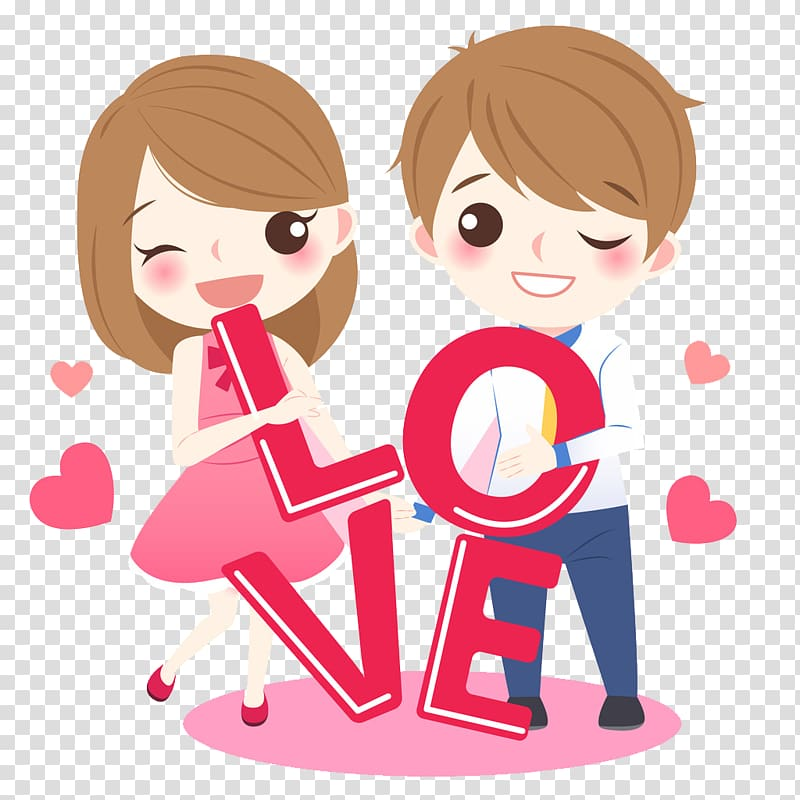 Drawing Cartoon , couple transparent background PNG clipart.