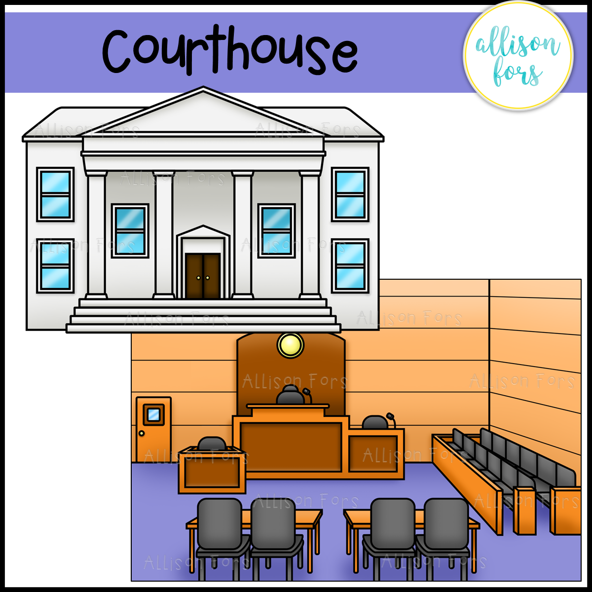 Courthouse and Courtroom Clip Art.