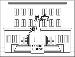 Clip Art: Buildings: Court House B&W I abcteach.com.
