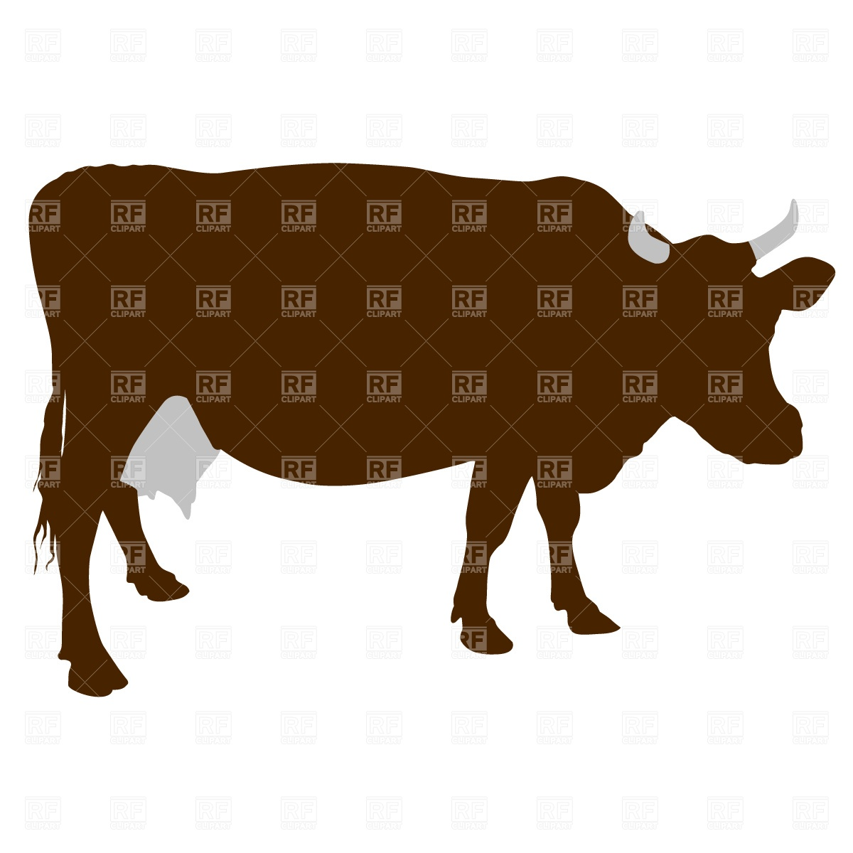 Cow silhouette Stock Vector Image.